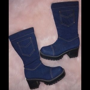 lucky top Shoes - Lucky top denim calf combat style boots